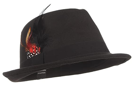 f0a5ba939c1 Jelord Men's Warm Woolen Crushable Feather Gangster Trilby Dent Fedora Hat  Black