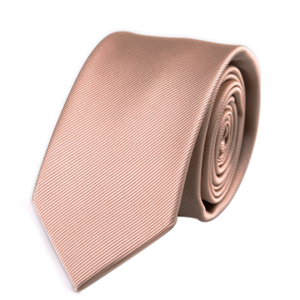 Mens Skinny Tie Wedding Business Necktie with Stripe Textured 6 cm/2.4inches- Multi Colors (Champagne)