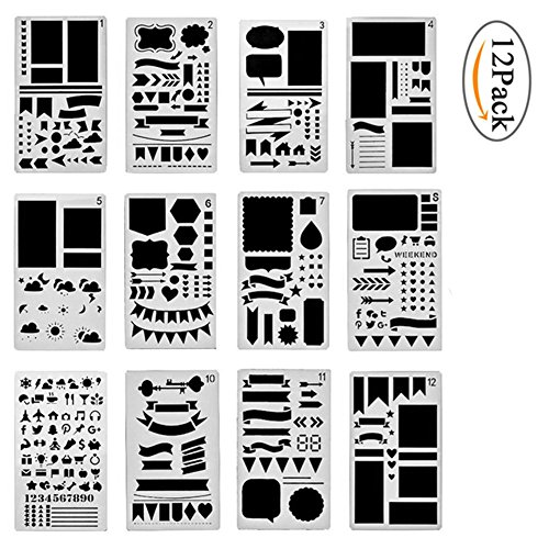 Bullet Journal Letter Stencil Set 12/20 Pcs - Plastic Planner Alphabet Number Painting for Journal/Notebook/Diary/Scrapbook DIY Drawing and Crafts Template (12 Pcs)