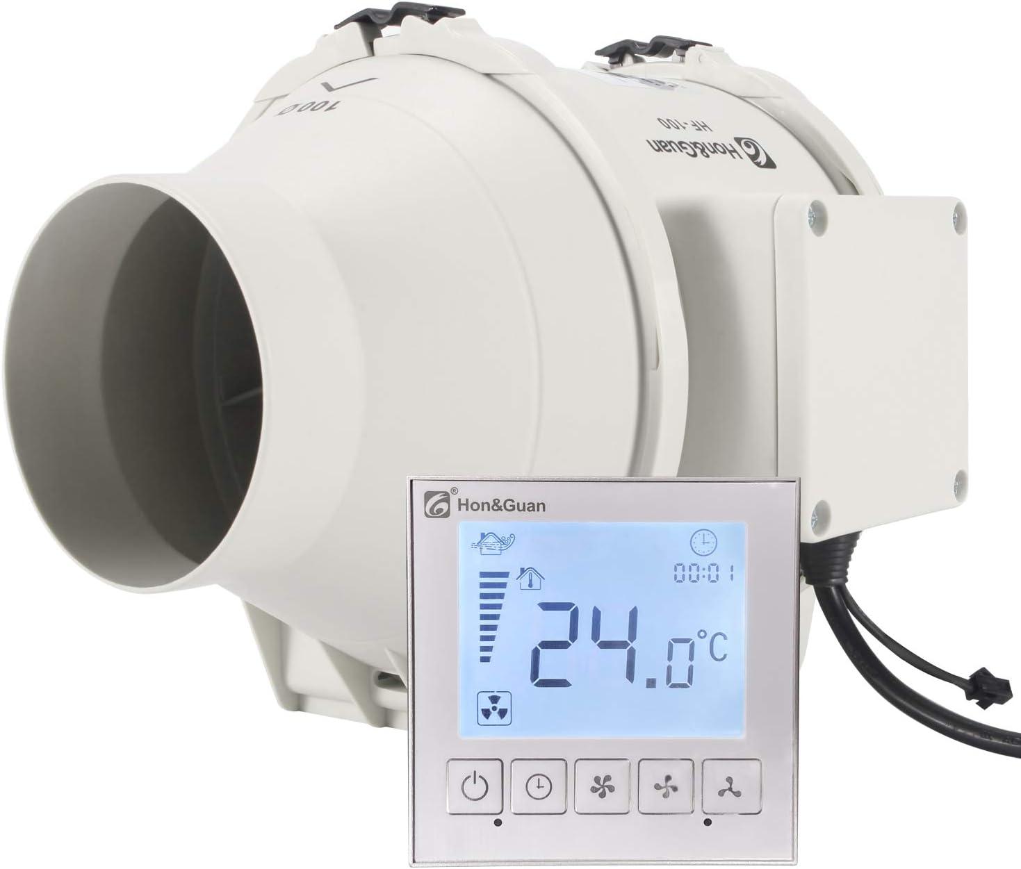 Hon&Guan ø100mm Ventilador Extractor de Aire con Temporizador y Controlador Inteligente , 240m³/h (ø100mm)
