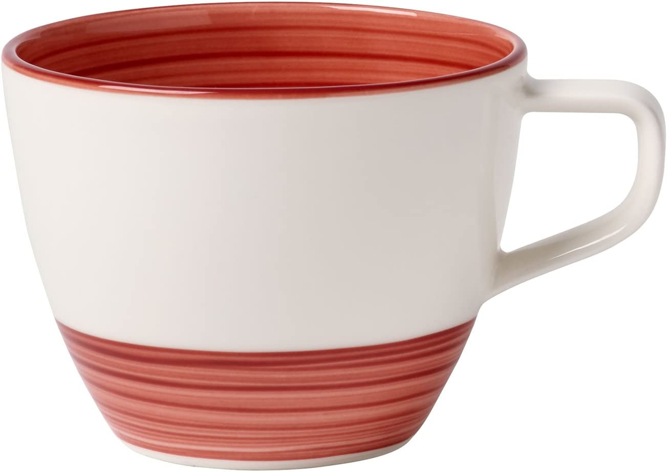 Villeroy & Boch Manufacture Rouge Coffee Cup, Hand-Painted Crockery  Porcelain, White and Red, 7 ml