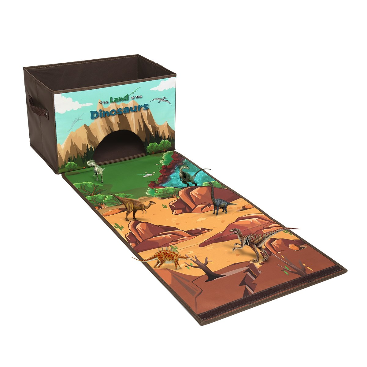 Livememory Dinosaurs Kids Toy Storage Box Play Mat Toys Storage Bin (Not Included Dinosaurs)-Brown