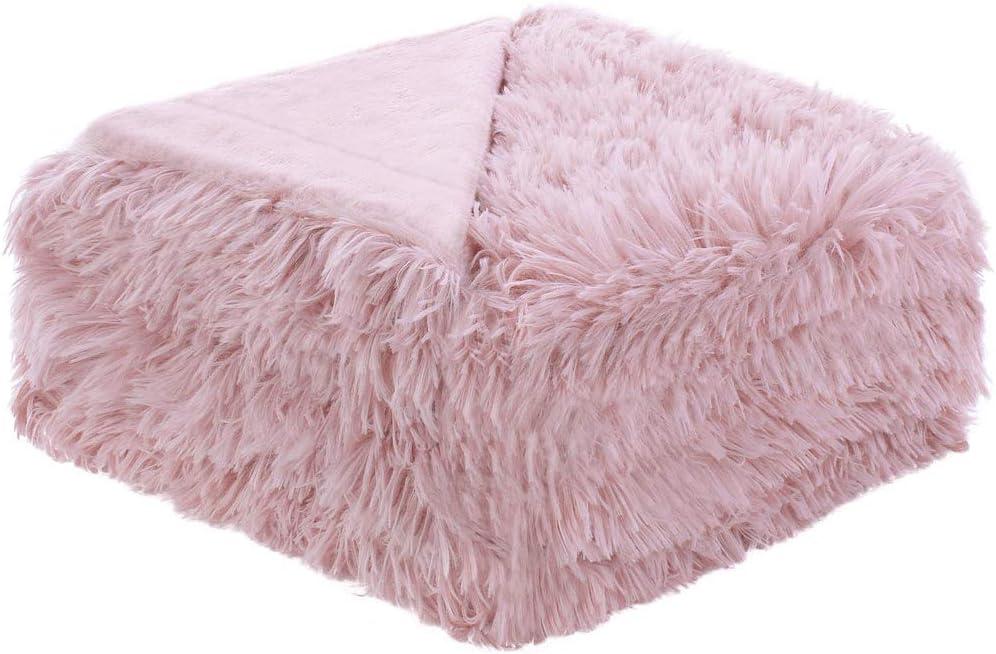 Sourcingmap - Manta de piel sintética suave con forro polar para cama, decoración del hogar, manta, matrimonial/matrimonial/queen size, polar poliéster, Rosa oscuro, Throw-50