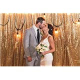 Gold Shimmer Sequin Fabric Photography Backdrop (8FTX10FT)