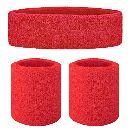 GOGO Sweatband Set Sports Athletic Exercise Headband Wristband Set -
