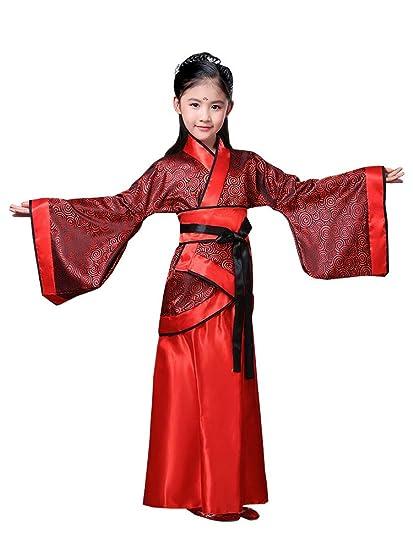 KINDOYO China Hanfu - Trajes Tradicionales de la Etapa de los Niños Rojos de Hanfu de Las Muchachas