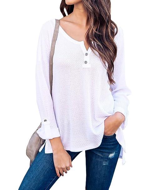 Bigyonger Womens Tops Long Sleeve Thermal Knit Top Casual Ribbed