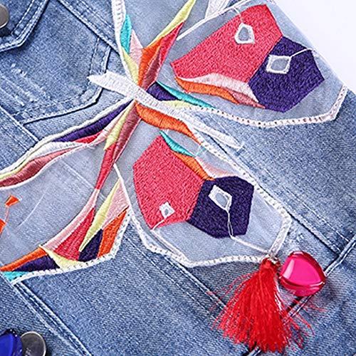 Embroidery Coats Jean Slim Ladies Patch Denim Butterfly JIKECHEKAOJ with Colorful Jackets Short Tassel Womens Jacket Jacket Designs S XZIqxPt
