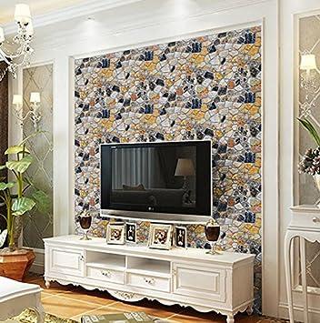 45x1000cm Papel de contacto con textura de ladrillo autoadhesivo para pared de dormitorio rollo de 0,45 m x 10 m vinilo sala de estar Yizunnu Ladrillo gris