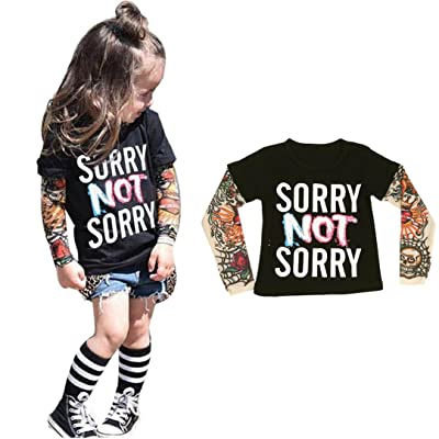 Ecosin® Kids Baby Long Sleeve Tattoo Print Letter T-shirt Loose Tops Clothes