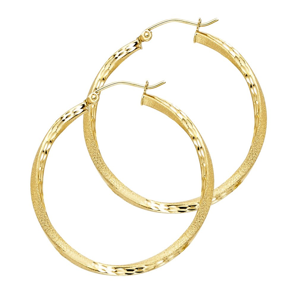 14k Yellow Gold Solid Frame Diamond-Cut 2.6mm Thick Swirl Hoop Earrings 30mm