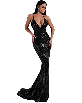 e5fa3ff876 Miss ord Women Sexy Deep V Backless Sleeveless Off Shoulder Sequined Stripe  Party Floor-Length