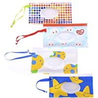 4Pcs Wet Wipe Pouch, Travel Wipes Case Reusable Refillable Wet Wipe Bag Travel Wipes Dispenser Wipe Pouches Baby Wet…