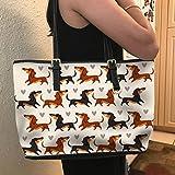 VOTANTA - Dachshund Cute Tote Bag For Women and Girls (white) (white)