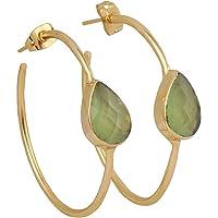 Amazing Handmade Gold Plated Hydro prehnite Pear Hoop Earrings EJ-1052-5