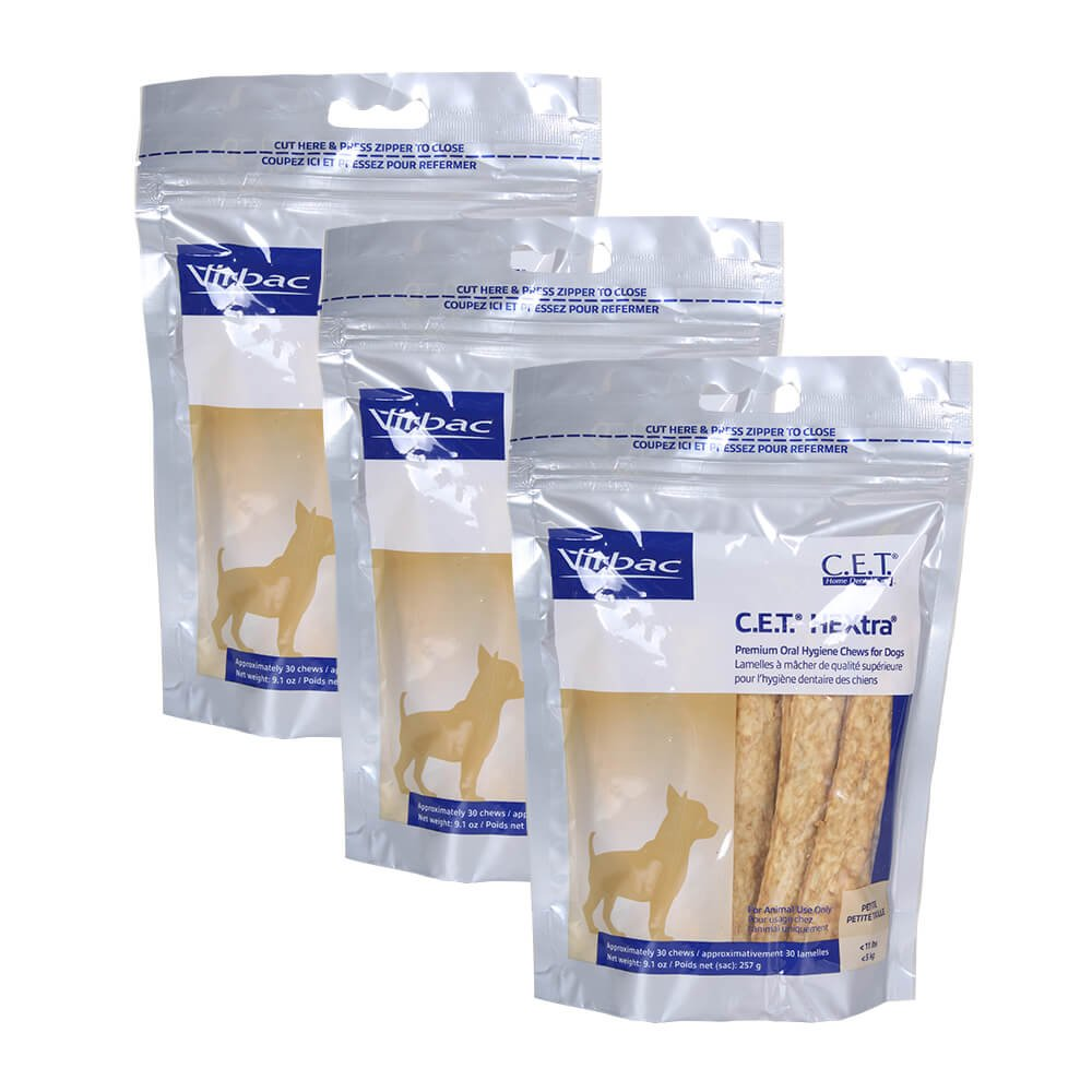 Virbac Dental Chews CET612-3 30 Count C.E.T. Hextra Chews (3 Pack), Petite by Virbac