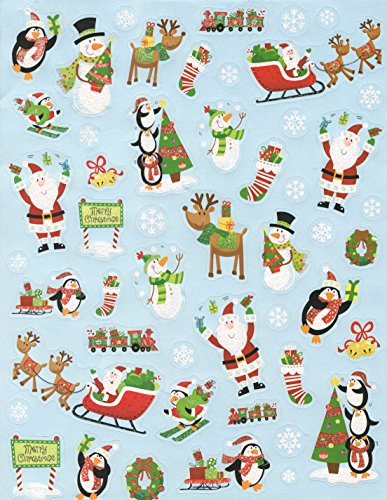 Christmas Glitter Stickers ~ Penguins, Santa with Sleigh, Rudolph and More! (50 Stickers, 1 Sheet) (Rudolph Penguin)