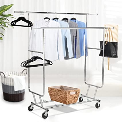 Topeakmart Commercial Grade Adjustable Double Rail Clothing Hanging Rack On Wheels Rolling Garment Drying
