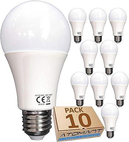 Led Atomant A60 Pack 10x Bombilla LED, Blanco neutro 4500K, 12 W ...