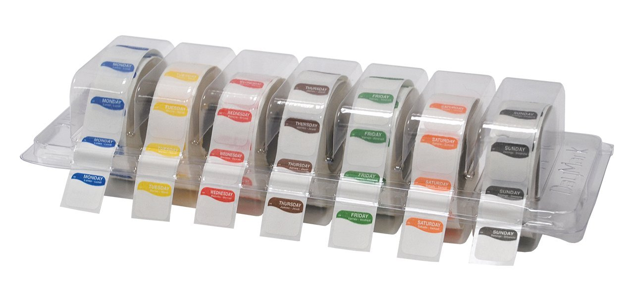 "DayMark Day of The Week 3/4"" Square Dissolvable Labels, Monday-Sunday, Label Dispenser Included (7,000 Labels)"