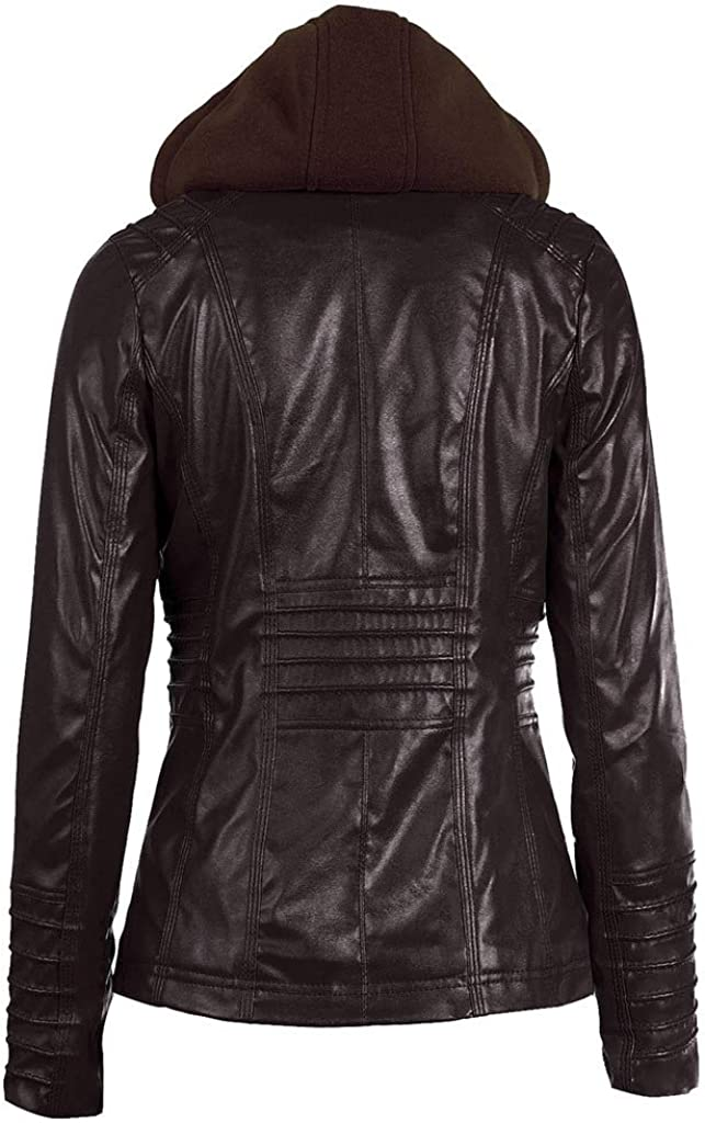 Ailixi Womens Faux Leather Jacket Removable Hoodie Coat Coffee