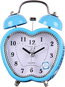 Rainbow Twin Bell Alarm Clock, Non Ticking Loud Alarm Clock with Backlight, 3 Inches Love & Apple Shaped Desk Table Clock for Home & Office (Blue Apple Shaped)