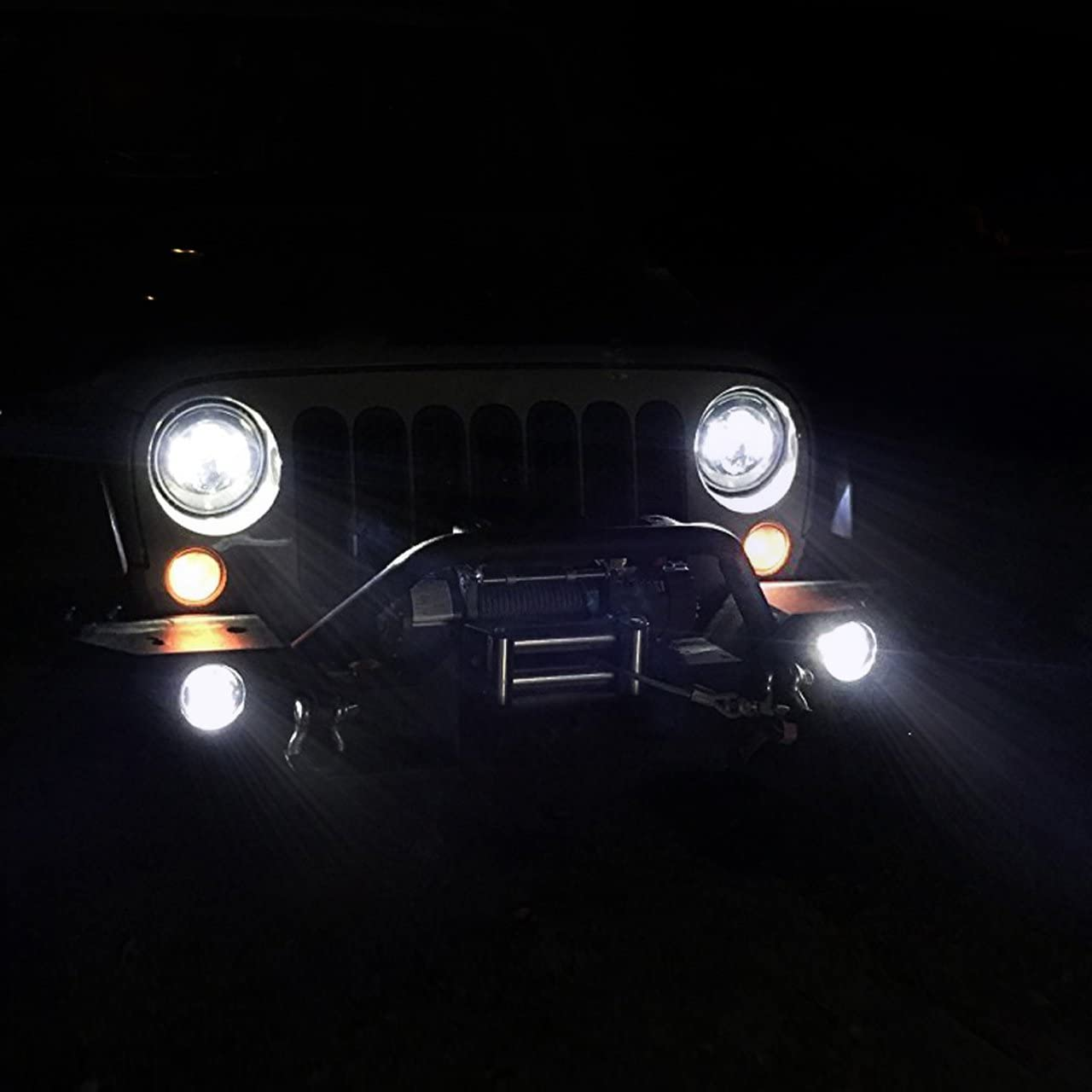 DOT Approved 7 Inch Projector Round LED Headlight High Low Beam with 4 inch LED Fog Lights for Jeep Wrangler Unlimited JK LJ TJ 4 door 2 Door Reedom Edition Rubicon Sahara Willys Wheeler 6Bulbs