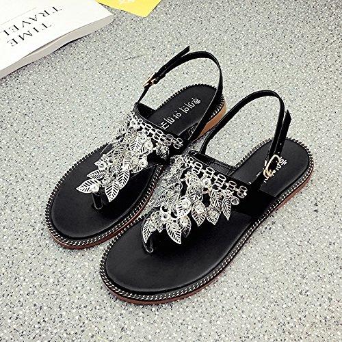 RUGAI-UE Hojas de verano sandalias planas mujer pies cómodos zapatos Toe Black