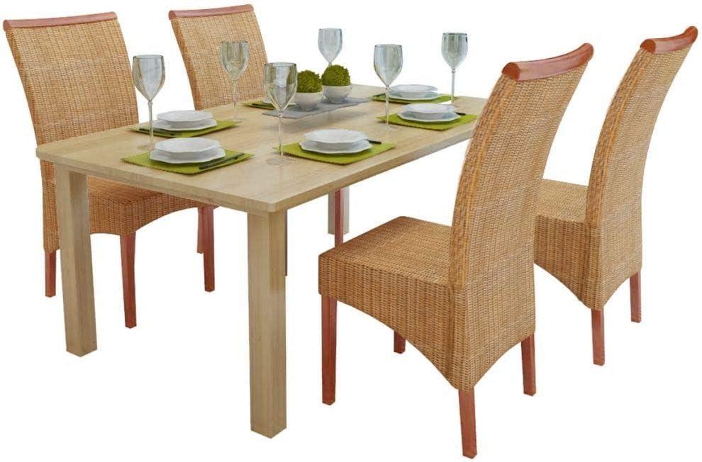 vidaXL Chaises de salle à manger 4 pièces en rotin marron
