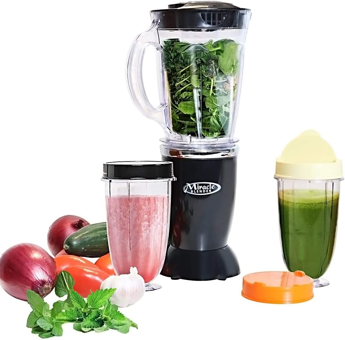 Total Chef Miracle Portable Blender with 12-Piece Set - Kitchen Countertop Blender Features Easy Ice Crushing for Milkshakes and Smoothies - Includes Recipe Guide, Dishwasher Safe