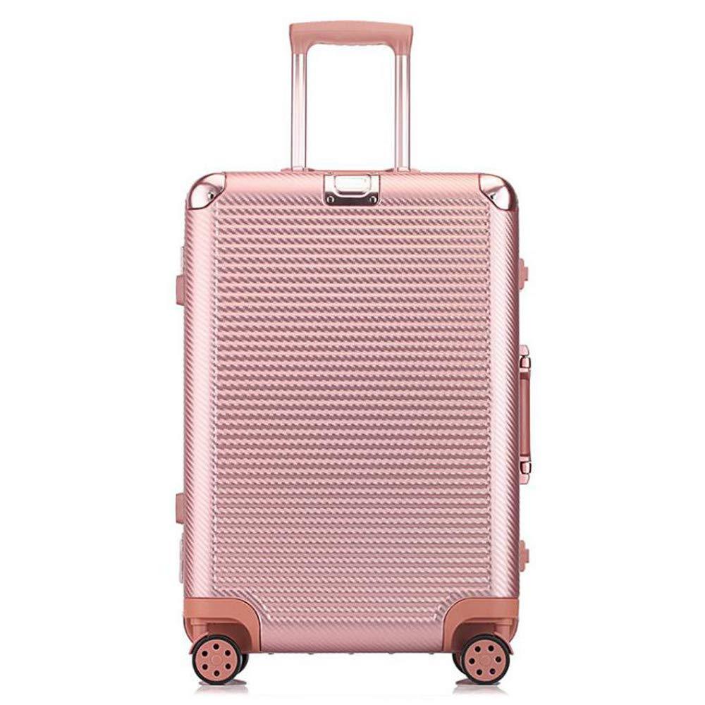 スーツケースの超軽量のABS堅い貝旅行は4つの車輪が付いている小屋手の荷物のスーツケースを続けます 44*26*70cm B07TC5MY8Z Rose gold