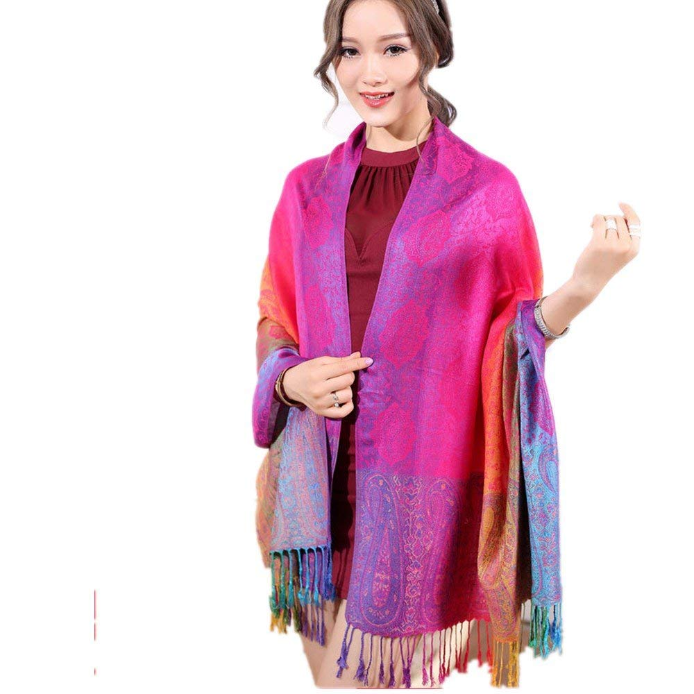 WLFY Women's Boho Bohemian Soft Blanket Oversized Fringed Scarf Wraps Shawl Sheer (Red) by WLFY (Image #3)