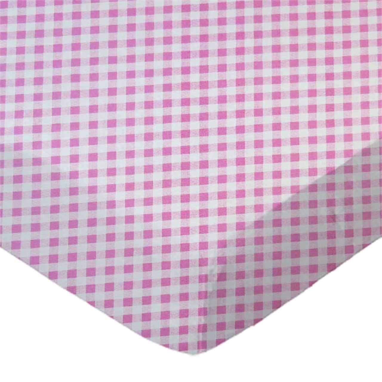 SheetWorld Fitted 100% Cotton Percale Pack N Play Sheet Fits Graco Square Play Yard 36 x 36, Pink Gingham Check, Made in USA