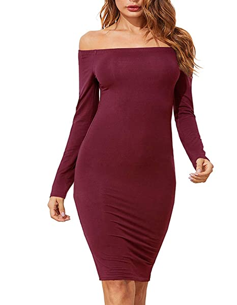 01e87fb2cbbb4 Romwe Women's Off Shoulder Long Sleeve Bodycon Cocktail Party Pencil Dress