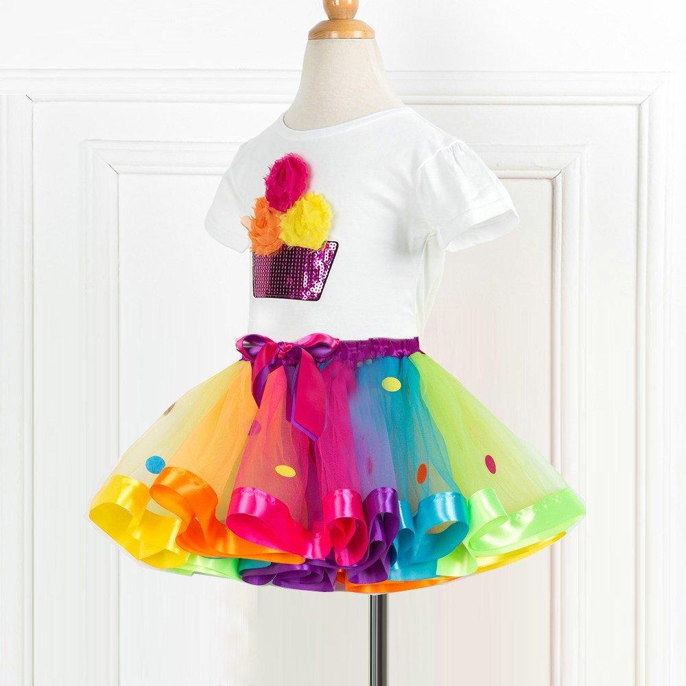 1Pc Gonna Anmain Bambino Camicetta Ragazza Maglie Fiore Felpa Casuale Maglietta T-Shirt Tops Tutu Tulle Gonne Cocktail Gonna Colorato Gonnella 1Pc Maglietta