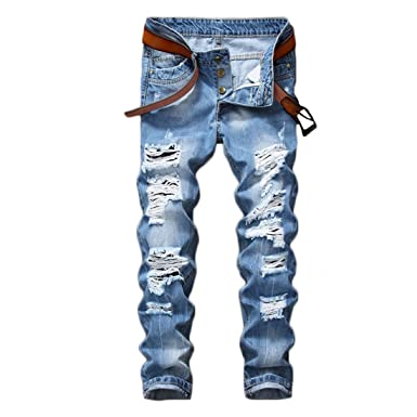 78a58b7cae44 Just No Logo Men s Light Blue Ripped Destroyed Slim Fit Denim Jeans ...