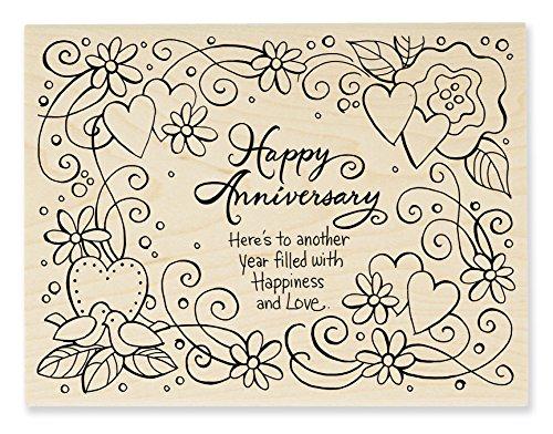 STAMPENDOUS Wood Stamp, Anniversary Wish
