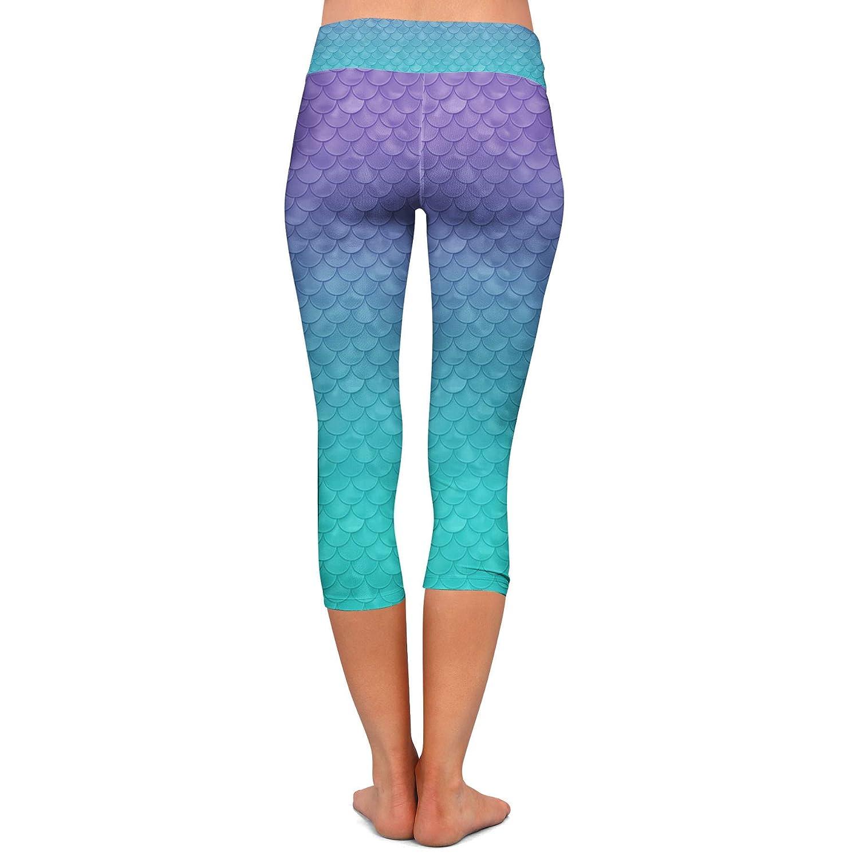 Capri 3//4 Length Low Waist Ariel Mermaid Disney Inspired Yoga Leggings