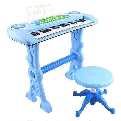 deAO Teclado Electronico Infantil - Piano Karaoke 37 Teclas con Microfono, Taburete, Variedad de