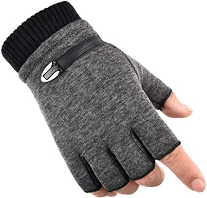 Qwergll Winter Fleece Warme Handschuhe Herren Halbfingerhandschuhe Stretch Fingerlose Handschuhe Für Outdoor Radfahren Fahrhandschuhe Sport Freizeit