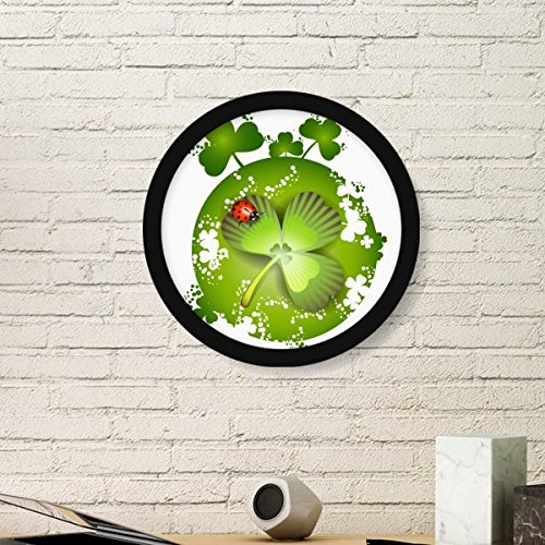 Ladybird Roundness Four Leaf Clover Ireland St.Patrick's Day Round Simple Picture Frame Art Prints of Paintings Home Wall Decal