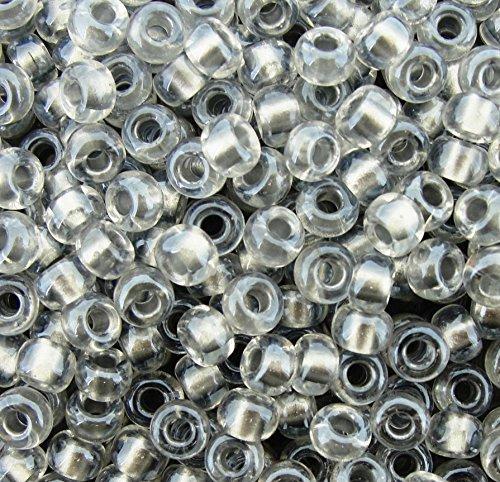 Miyuki Round Seed Beads Size 6/0 20g Sparkling Pewter Lined Crystal