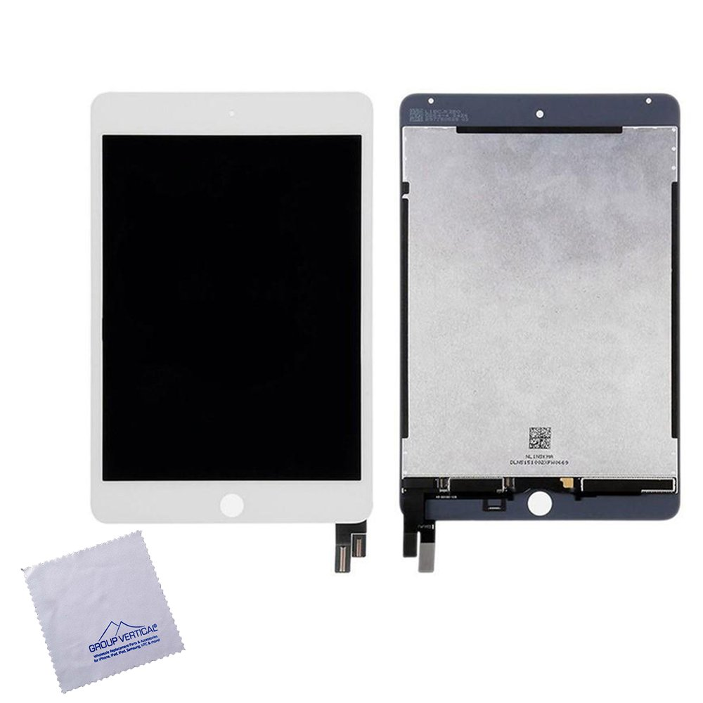 Set of 10 Replacement Touchscreen Digitizer LCD Assembly for Apple iPad Mini 4 A1538 A1550 - White - Sleep/Wake sensor flex cable included - by Group Vertical
