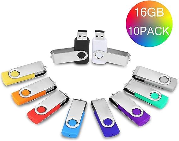 10 Piezas Pendrive 16GB Colores – JUYUKEJI Pack 10 Originales Pen Drive Memoria USB Flash Drive (16GB*10): Amazon.es: Electrónica