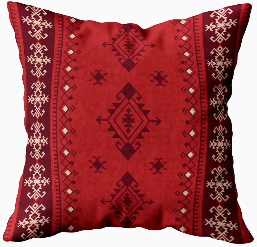 HerysTa Art Pillow Case، Home Decorative Cotton Pillow Covers 18x18inch Invisible Zipper Cushion Cases Ethnic Tribal Pattern Boho Square Sofa Bed Decor