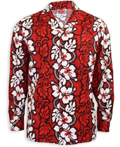 Red Long Sleeves White Hibiscus Hawaiian Shirt, Large, RED