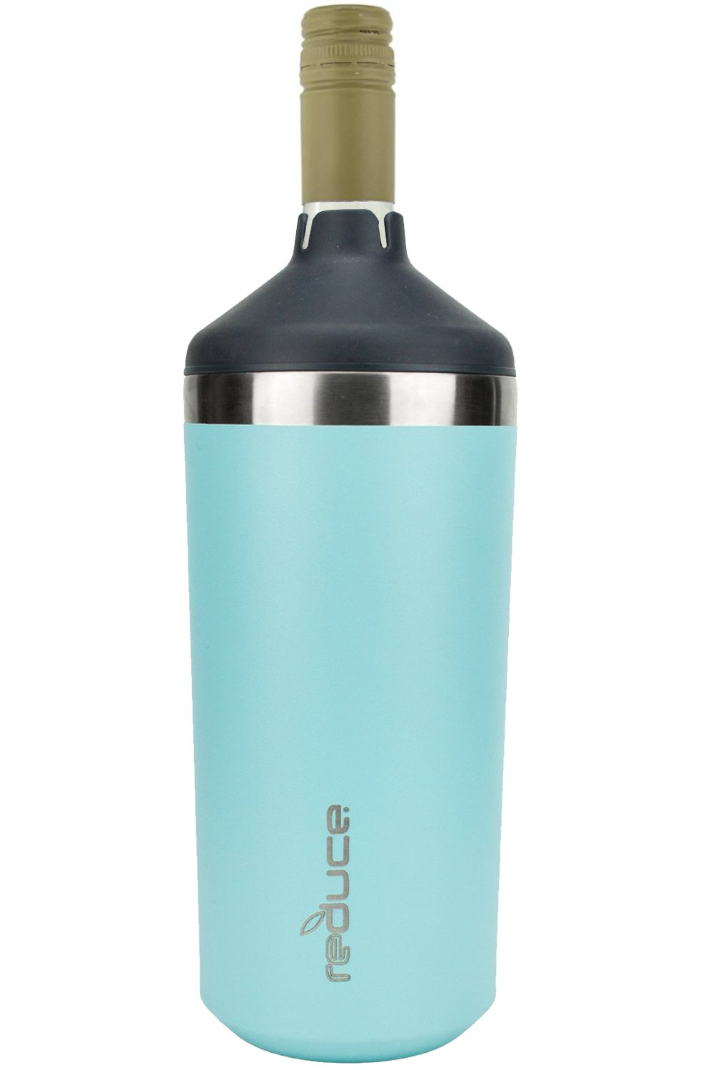 Portable Wine Bottle Cooler by REDUCE - Stainless Steel, Insulated Chiller to Keep Wine at the Perfect Temperature, No Ice Required - Ideal for Outdoor Summer Parties, Fits Most Wine Bottles - Mint