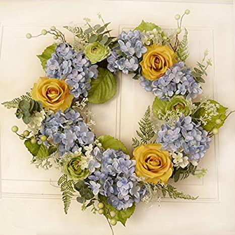 Victorian Christmas Floral Yellow Rose and Lilac Hydrangea Door Wreath