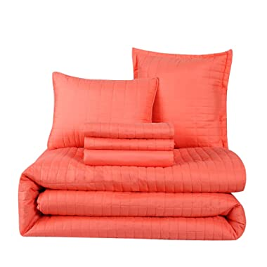 HONEYMOON HOME FASHIONS Queen Comforter Set 6 Piece, 1 x Comforter, 1 x Bedskirt, 2 x Shams and 2 x Decorative Pillows, Coral