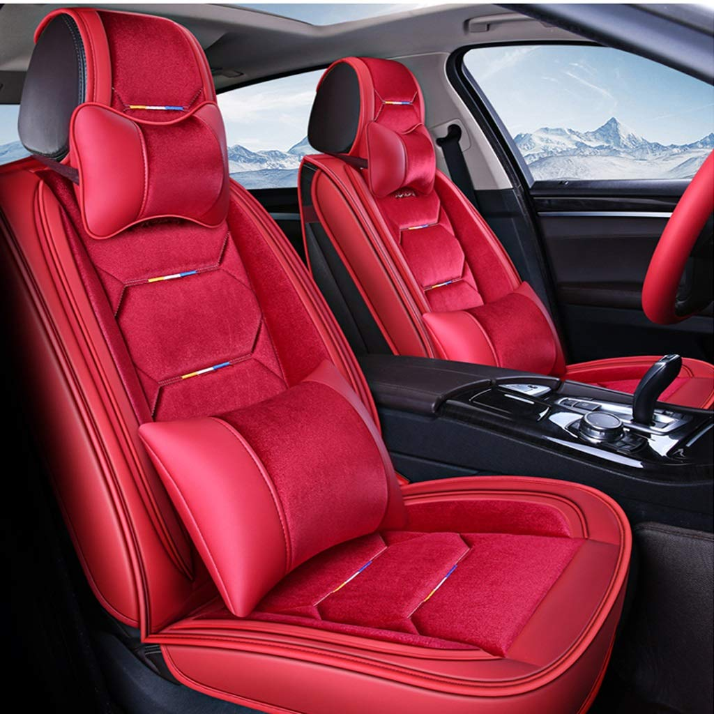 カーシートカバー、フロントとリアシート5席フルセットのユニバーサルレザー四季パッド互換エアバッグシートカバー防水レザーカーシートクッション枕 (色 : 赤)  赤 B07RBWLSDL